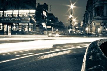 London Street Night Long Exposure