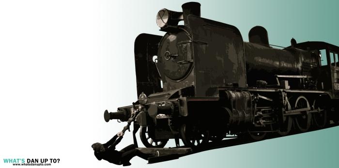 Man Pulling Train Stencil