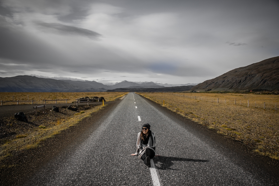 Sitting in Middle of Deserted Road - Iceland