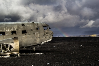 Crashed C117 in Ash Field With Rainbow- Iceland
