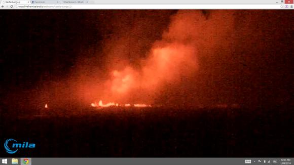 Night Volcano Eruption Iceland