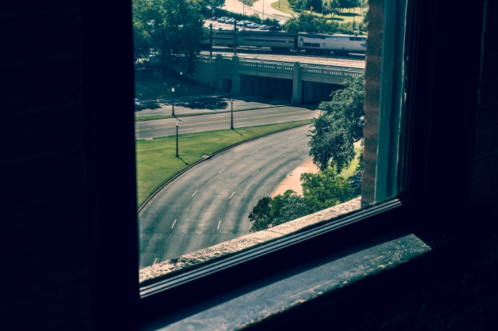 The view from book Depository Window - JFK Assassination Dallas TX