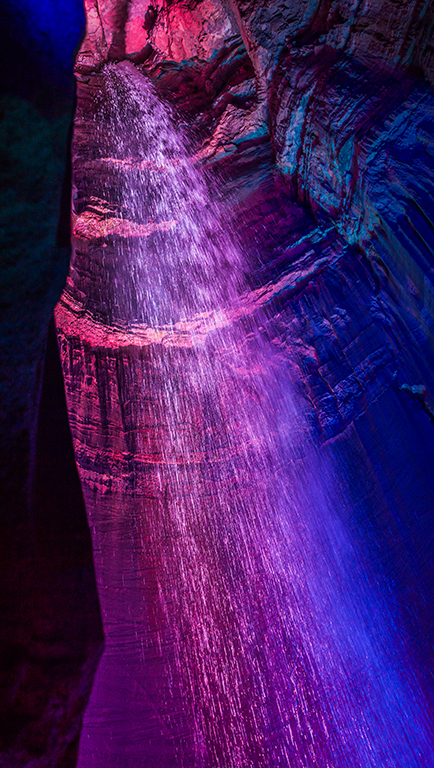 Ruby Falls neon light show.