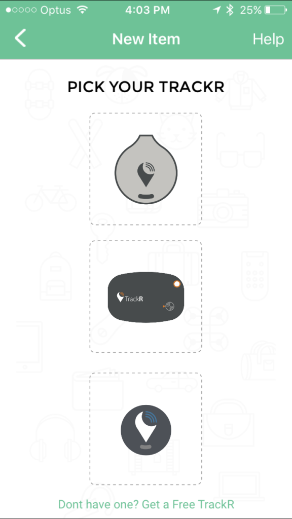 TrackR App Selecting Device