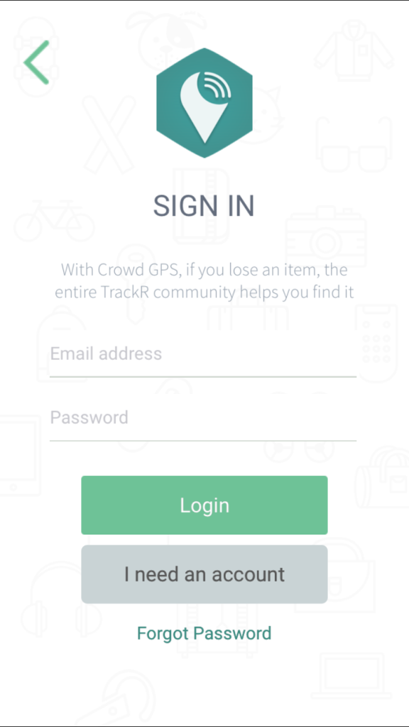 TrackR Bravo - Account Sign up